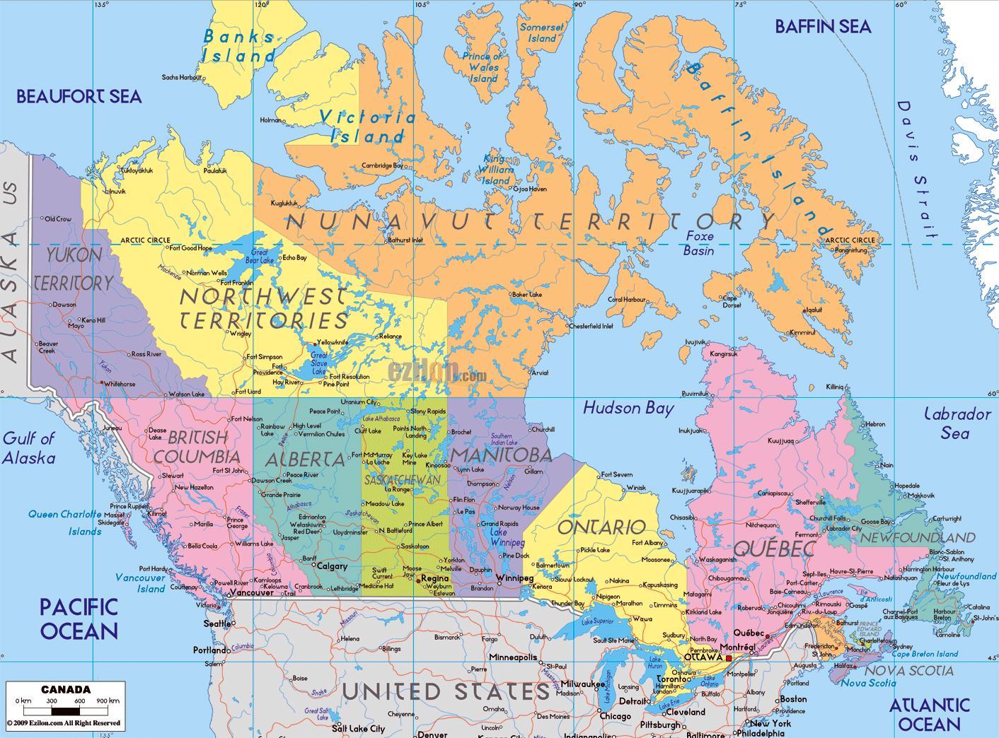 Carte Amerique Nord Avec Villes.Canada Carte Avec Les Noms De Ville Carte Detaillee Du
