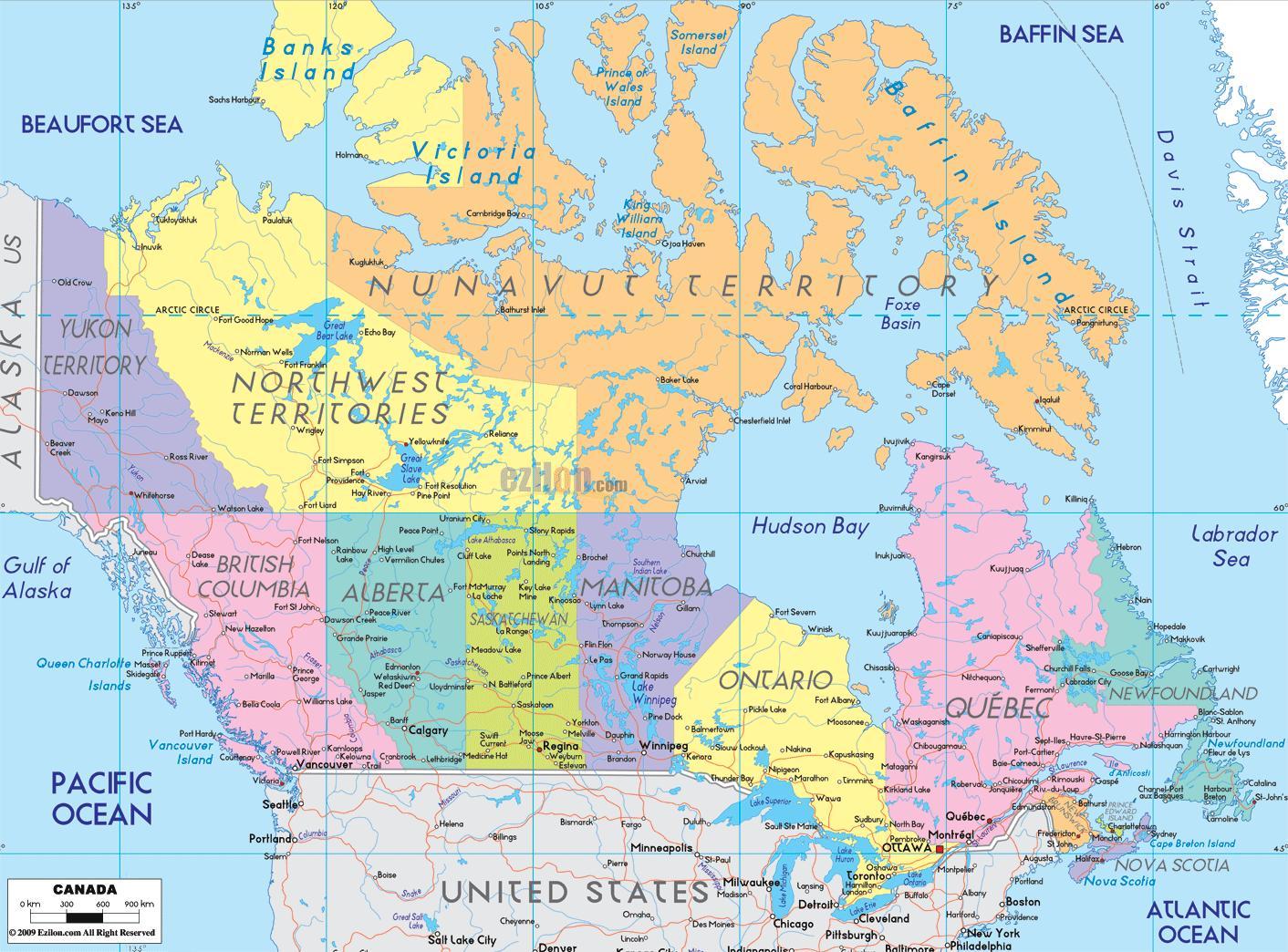 Carte Canada Est Detaillee.Carte De L Est Du Canada Carte Detaillee De L Est Du Canada