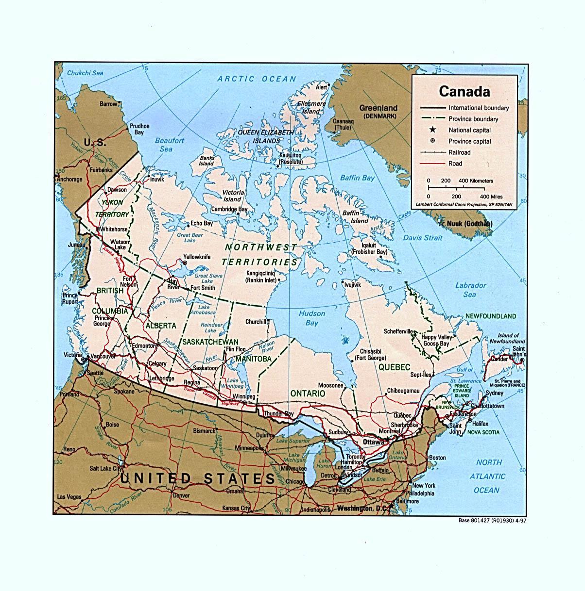 Carte Route Amerique.Carte Routiere De L Ouest Du Canada Carte De L Ouest